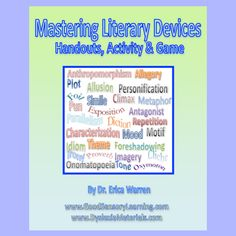 This digital download offers quick and easy handouts that review the 40 most common Literary Devices. It also helps students distinguish between the subcategories of Literary Elements and Literary Techniques and also goes into 16 types of figurative language. Printable color-coded visuals and a graphic organizer helps to make it clear and a multisensory activity will help students to remember each and every device reviewed. What's more, there is a fun Literary Device game $