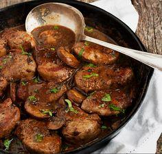 Skillet Pork Medallions in Mushroom Marsala Sauce. because I've got a weakness for mushroom Marsala sauce Pork Tenderloin Recipes, Pork Recipes, Cooking Recipes, Pork Chops, Recipies, Cooking Corn, Cooking Salmon, Pork Marsala, Marsala Sauce