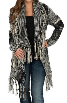 Black Fringed Open Front Sweater Cardigan Cute Country Outfits, Western Outfits, Ladies Western Shirts, Outerwear Women, Sweater Jacket, Stylish Outfits, Cool Outfits, Western Riding, Winter Style