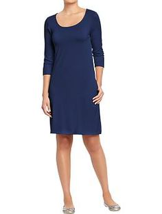 Womens 3/4-Sleeve Jersey Dresses. I own this in a black & white stripe and I love it