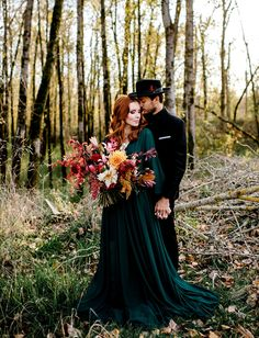 Autumn Wedding Ideas Vintage and emerald autumn inspired elopement - Newly engaged and planning a fall wedding? Today's inspiration comes direct from that autumn paradise known as the Pacific Northwest, where Karina (of Karina Green Wedding Dresses, Fall Wedding Flowers, Autumn Wedding Colors, Wedding Bouquet, Gothic Wedding, Dream Wedding, Wedding Shoes, Wedding Black, Black Weddings