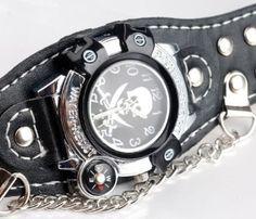 Amazon.com : Stylish Devil Skull Skeleton Leather Bracelet Men Lady Punk Sport Cuff Watch : Electronics