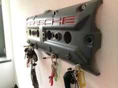 DIY Porsche key holder made of old valve cover