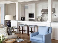 Example of how the cabinets are built to the ceiling. Also, like the range hood.