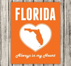 Florida is Always in my Heart  Florida Print by BentonParkPrints, $12.00