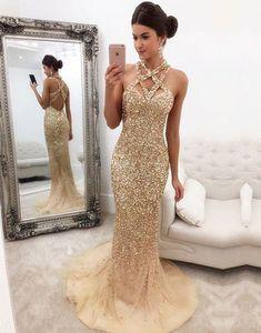Champagne Beaded Mermaid Prom Dress,Long Evening Dress,Tulle Open Back Prom Dresses