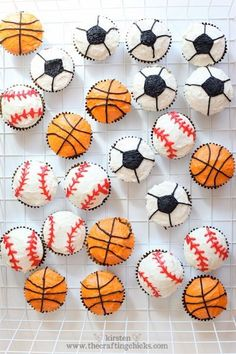 Birthday Party :) These DIY cupcakes are an easy dessert to make for any kid's sports themed birthday party!These DIY cupcakes are an easy dessert to make for any kid's sports themed birthday party! Sports Themed Birthday Party, Ball Birthday, Boy Birthday Parties, Boy Birthday Cupcakes, Birthday Ideas, Sports Birthday Cakes, Kids Sports Party, Birthday Celebration, Diy Cupcake