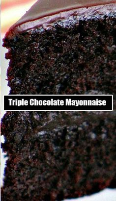 Triple Chocolate Mayonnaise Cake Recipes The secret ingredient that makes this cake so moist is Mayonnaise! Add 3 kinds of chocolate and it's chocolate indulgence at its highest. Mayonaise Cake, Chocolate Mayonnaise Cake, Chocolate Bundt Cake, Chocolate Chocolate, Chocolate Frosting, Mayonnaise Recipe, Coconut Chocolate, Baking Chocolate, Chocolate Heaven