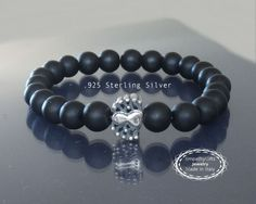Mens black onyx bracelet Sterling silver spider by EmpathyGifts