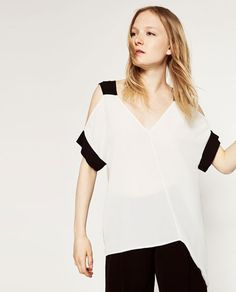 Image 2 of CUT-OUT SHOULDER T-SHIRT from Zara