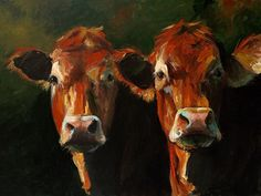 Cow Print-  Two Limousins - Canvas or Paper Giclee Print