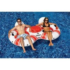 Solstice SuperChill Tube Duo Pool Float for Swimming Pools Or River Rafting, Durable Vinyl Construction