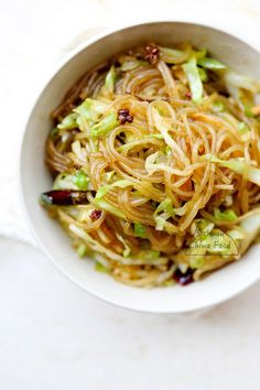 Sweet potato glass noodles with shredded cabbage: an easy stir fry dish.