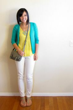 Putting Me Together: cute turquoise and yellow outfit (with shopping links at bottom of page)