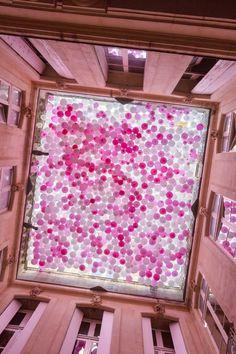 The Tenth Spring 'Un dixième Printemps' Ephemeral Installation designed by Mickaël MARTIN, Margaux RODOT, Benoît TASTET for Festival des Architectures Vives in Montpellier, France