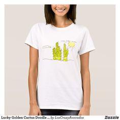 Lucky Golden Cactus Doodle Funky T-Shirt