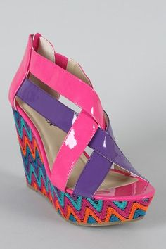 Bright color block wedges with tribal design!!!