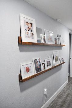 Photo Ledge Display, Picture Frame Shelves, Photo Shelf, Frame Shelf, White Picture Frames, Picture Ledge, Picture On Wood, Shelf Above Bed, Above Couch