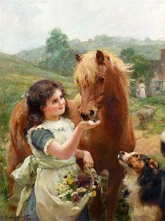 Girl with pony and Farm dog.  Equine Art by Arthur John Elsley (1860-1952)