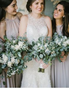 Soft and romantic wedding bouquet; green and white wedding flowers; ivory vendella roses, silver dollar eucalyptus; spiral eucalyptus; seeded eucalyptus and babys breath Lisa Foster Floral Design www.lisafosterdesign.com