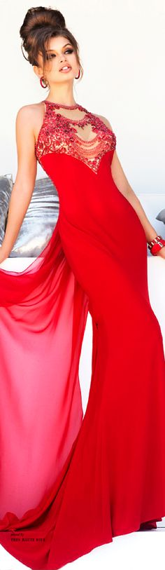 Sherri Hill Fall - red gown - 2014