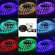 NEWSTYL 32.8ft 10M(Two Rolls 5M) Waterproof Flexible Strips 600leds Color Changing RGB SMD5050 LED Light Strip Kit  20 Keys Music IR Remote Controller  12V 10A Power Adapter