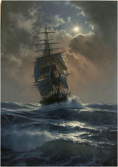 Marek Ruzyk is a Polish painter who specializes in marine art. His seascape pain… Marek Ruzyk is a Polish painter who specializes in marine art. His seascape paintings, done in oil, are reminiscent of classic century artworks. Ship Paintings, Seascape Paintings, Dark Paintings, Old Sailing Ships, Sailing Boat, Realistic Oil Painting, Painting Art, Space Painting, Nautical Art