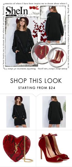 """""""Black Drop Shoulder Sweatshirt"""" by fa-style ❤ liked on Polyvore featuring Yves Saint Laurent, Gianvito Rossi and shein"""