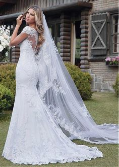 Marvelous Tulle Off-the-shoulder Neckline Mermaid Wedding Dress With Lace Appliques - Hochzeitskleid ballkleid - Weddings Fancy Wedding Dresses, Western Wedding Dresses, Princess Wedding Dresses, Bridal Dresses, Wedding Gowns, Lace Wedding, Trendy Wedding, Wedding Frocks, Bridesmaid Dresses