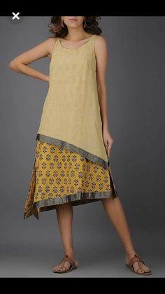 Beige-Mustard Kalamkari-Printed Handwoven Mangalgiri Cotton Layered Dress - Woman Tutorial and Ideas Cotton Dresses, Women's Dresses, Fashion Dresses, Summer Dresses, Dresses Online, Kurta Designs, Blouse Designs, Simple Dresses, Casual Dresses