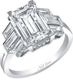 Neil Lane emerald cut diamond and platinum ring  This one is incredible.