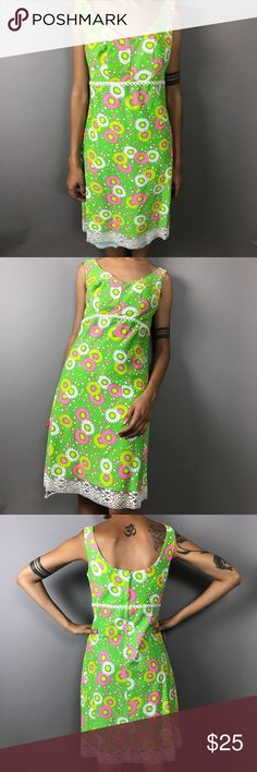 """Retro Dress Amazing brightly colored retro dress! In great condition, only impairment is a little rip in the lace as shown in the last photo. Bust 17"""", strap 7"""", length 37 1/2"""". Vintage Dresses Midi"""