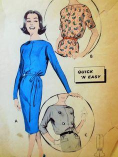 Vintage Butterick 8660 Sewing Pattern, 1950s Dress Pattern, Cowl Neckline, Bust 32, Blouson Bateau Neck 1950s Sewing Pattern, Vintage Sewing
