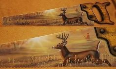PAINTED HAND SAW BLADE DEER ANTLERS HUNTING CABIN DECOR
