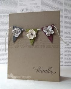 clean and simple card with pennants, twine and flowers.