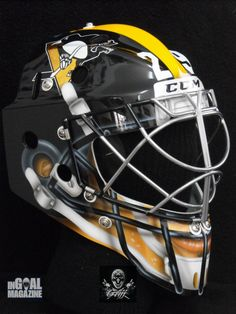 Pittsburgh Penguins goalie Marc-Andre Fleury will wear a Steelers-inspired mask and metallic gold goalie pads Saturday night during the team's Stadium Series game at Soldier Field. Pittsburgh Penguins Goalies, Pittsburgh Steelers Helmet, Pittsburgh Sports, Football Helmets, Hockey Helmet, Field Hockey Goalie, Goalie Pads, Goalie Gear, Pens Hockey