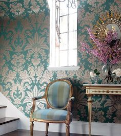 This gold foil Damask wallpaper is stunning. Get the look here: http://www.americanblinds.com/wallpaper/productid,102539