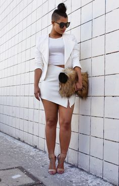 Edgy White Leather Skirt Top: Love Melrose | Skirt/Clutch/Fur Pom: She The Collection | Shoes: Lola Shoetique | Sunnies: LA Fashion District Stand She Recycles Fashion