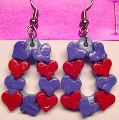 Handmade Red and Purple Polymer Clay Heart Drop earrings | CreativeCritters - Seasonal on ArtFire