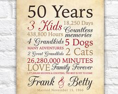 50th Anniversary or Any Year, Grandparents Anniversary, Parents Anniversary, 50 Years of Marriage, Grandpa and Grandma, Rustic Gold | WF200