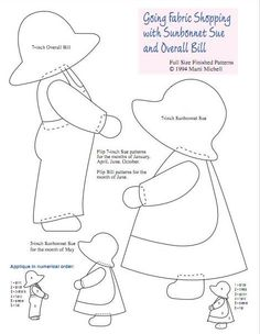 Free Sunbonnet Sue quilt and applique patterns come in many shapes and sizes for simple decorations on a shirt to advanced quilts. Sunbonnet Sue is a timeless creation that has been used by sewers and quilters for decades. Baby Applique, Applique Quilt Patterns, Embroidery Patterns Free, Embroidery Designs, Applique Templates Free, Patchwork Patterns, Hand Embroidery, Machine Embroidery, Sunbonnet Sue