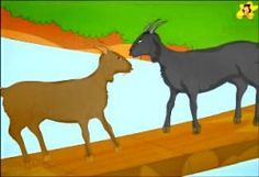 Children's stories online - The two silly goats met in the middle of the bridge Stories With Moral Lessons, Short Moral Stories, Moral Stories For Kids, Short Stories For Kids, Dog Stories, Kids Story Books, Bedtime Stories, Greedy Dog Story, Picture Story