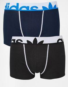 Unterhose von adidas elastischer Jersey Logoschriftzug am Bund figurbetontes Design Maschinenwäsche 70% Baumwolle, 25% Polyester, 5% Elastan Set mit zwei Paaren