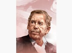 HelloVon Studio www.hellovon.com — leading portrait illustrator. Vaclav Havel for The Atlantic. Cool, contemporary, power, modern, motion, movement, brush, colour, painting, ink, watercolour, celebrity, icon, hero, iconic