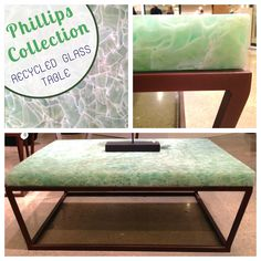 "Phillips Collection | IHFC C-202 The ""Recycled Glass Table"" is made with recycled Coke bottles and window panes, paired with a bronze base. What a stylish upcycle! #HPMKT"