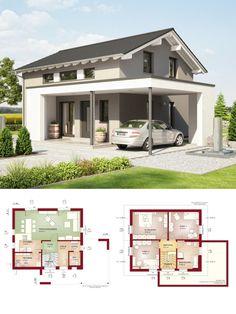 Einfamilienhaus modern mit Design Carport und Satteldach Architektur - Grundriss Haus Edition 1 V2 Bien Zenker Fertighaus Ideen - HausbauDirekt.de