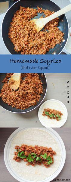 "Homemade Soyrizo (Soy ""Chorizo"") | yupitsvegan.com. Recipe to make your own vegan, gluten-free chorizo-style crumbles, just like the Trader Joe's version."