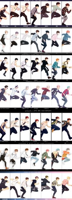 From top to bottom: Jungkook | V (Taehyung) | Jimin | Rapmon (Namjoon) | J-Hope (Hoseok) | Suga (Yoongi) | Jin |
