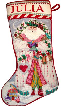 Needlepoint stocking by Melissa Shirley