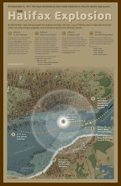 Halifax explosion - map a disaster History For Kids, History Class, Halifax Map, Galveston Hurricane, Halifax Explosion, Johnstown Flood, Atlantic Canada, Visit Canada, Canadian History